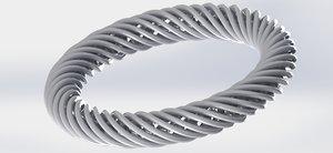 3D model silver knitting ring
