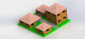 3D toys wooden town