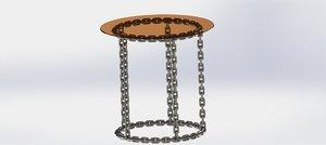 metal chain glass stillage 3D model