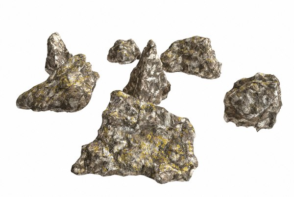 3D model pack small rocks lichen