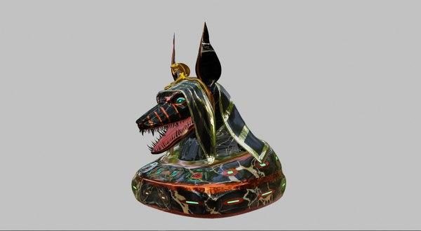 anubis sculpture head 3D