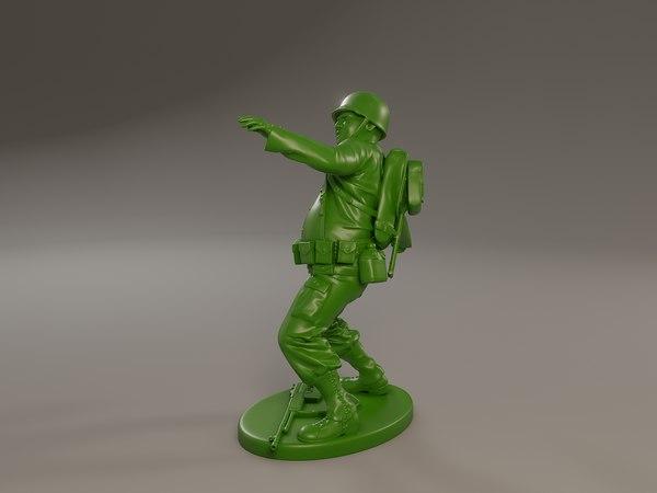 american soldier ww2 throwing 3D model