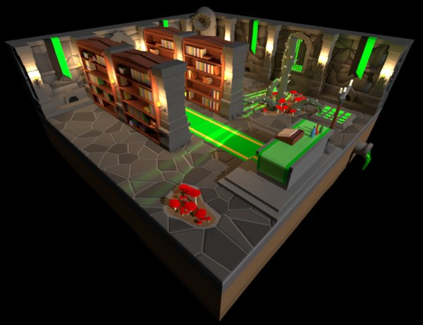 3D dungeon green