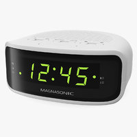 3D magnasonic digital clock white