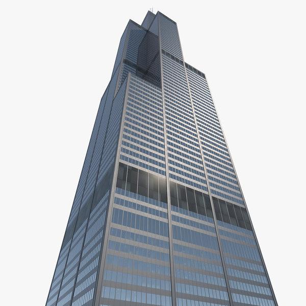 3D willis tower skyscraper center model