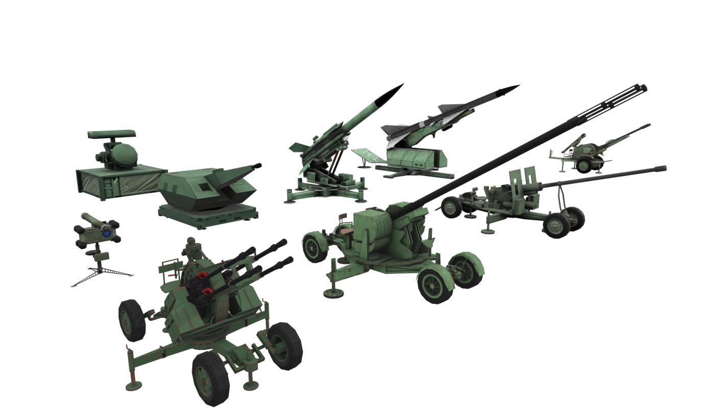 combined military aircraft artillery 3D