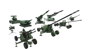 combined military aircraft artillery 3D