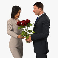 man woman white roses 3D model