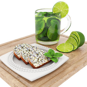 3D green tea poppyseed cake