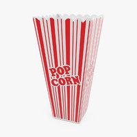 3D long popcorn cup corn model