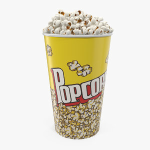 3D medium popcorn bucket popped
