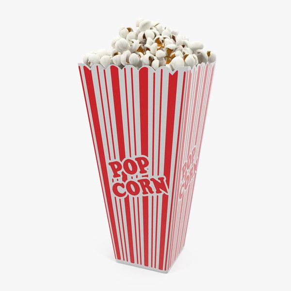popcorn cup long popped 3D model