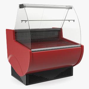 3D supermarket meat curved display model