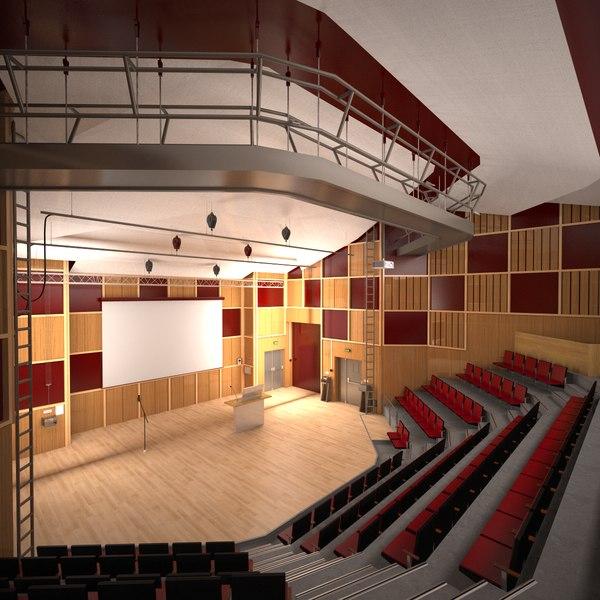 3D model auditorium interior desks