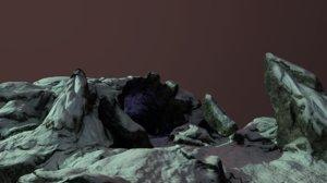 3D cave entrance snow model