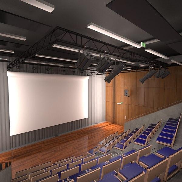 3D auditorium interior desks