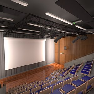 3D auditorium interior desks