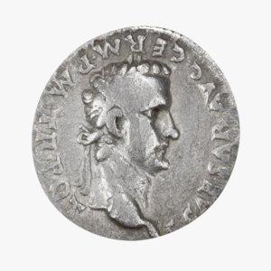 3D roman coin silver model