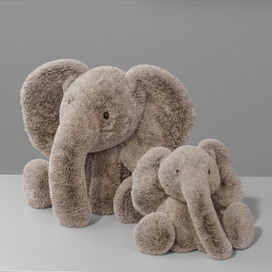 elephant plush animal toy 3D