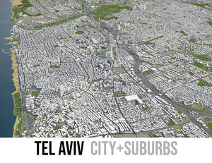 city tel aviv surrounding 3D