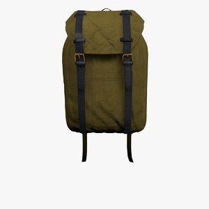 3D model brown rucksack bag