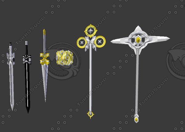 x-serial weapons swords spear 3D model