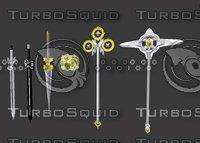 x-serial weapons swords spear 3D model