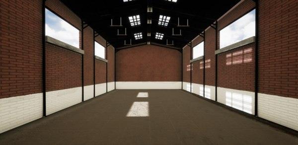 3D hangar interior building model