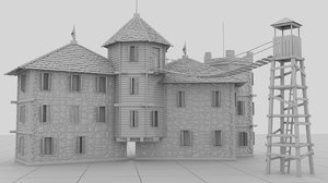 small strange castle building model