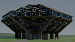 3D geisel library building architecture
