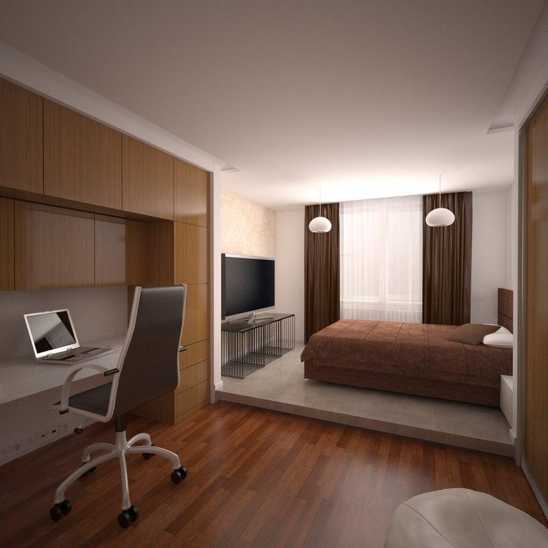 teenager room interior 3D model