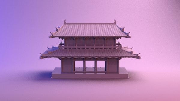 3D chinese japanese japan house