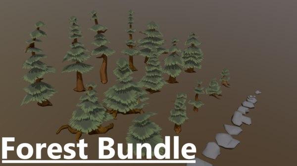 forest assets pine trees 3D model