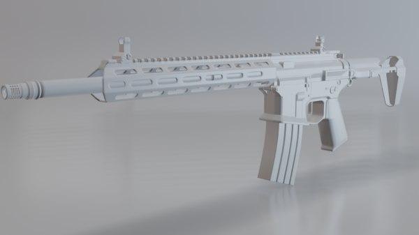 3D model m4 honeybadger assault rifle