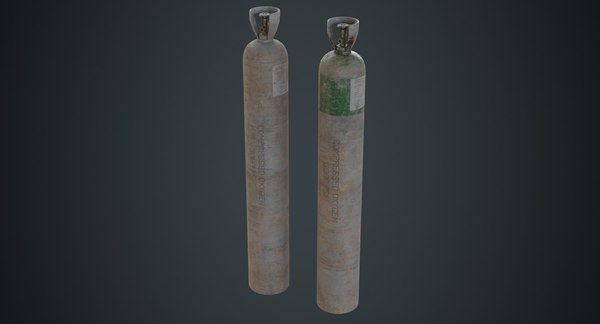 3D model gas cylinder contains 2d