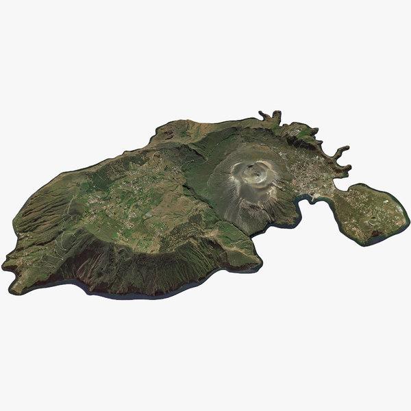 aeolian islands vulcano 3D