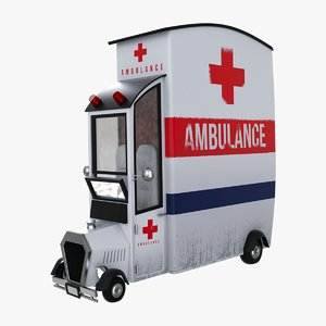 3D ambulance cartoon car model