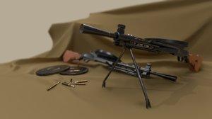 soviet lmg dp-28 gun 3D