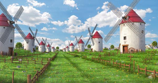 3D meadow windmill spanish model