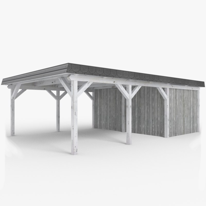 Wooden Carport With Shed Lowpoly