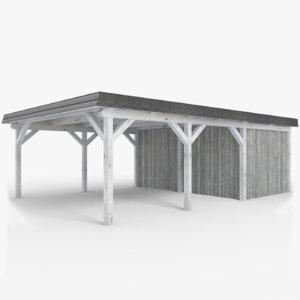 white wooden carport shed 3D model
