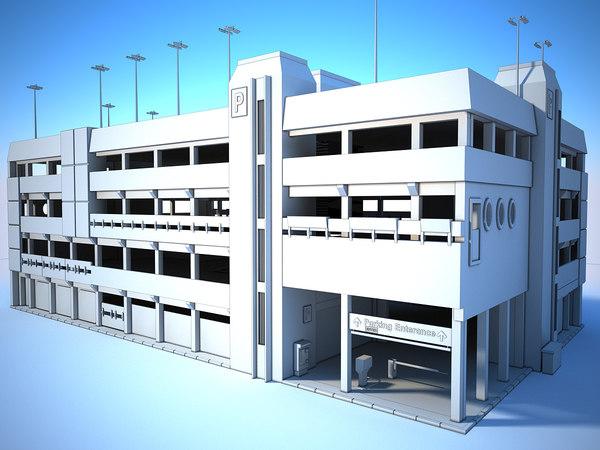 generic white parking garage 3D model