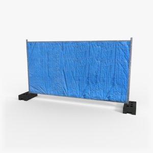 blue construction site fence model