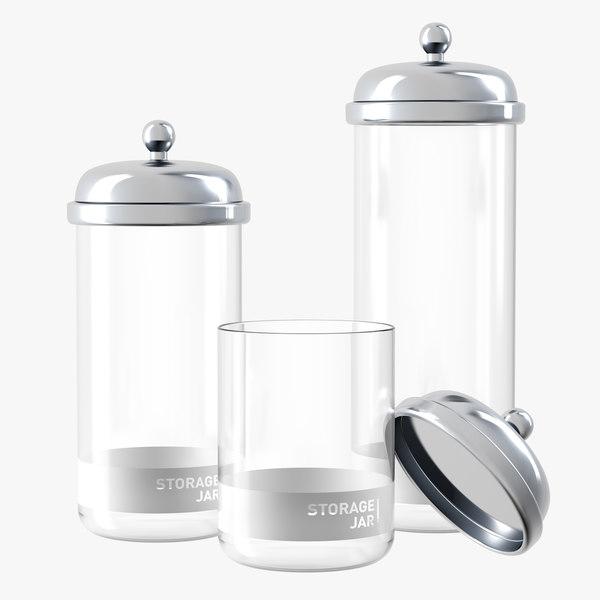 glass storage jars metal 3D model