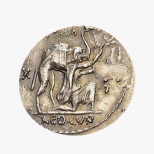 roman coin silver 3D model