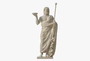 asclepius god healing sculpture 3D