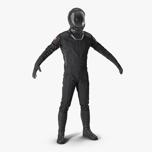 black sci fi astronaut 3D model