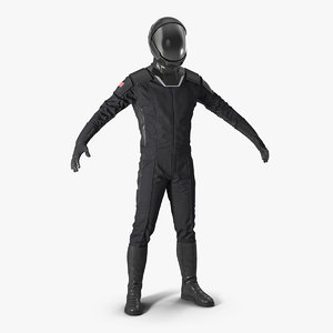 black sci fi astronaut 3D model