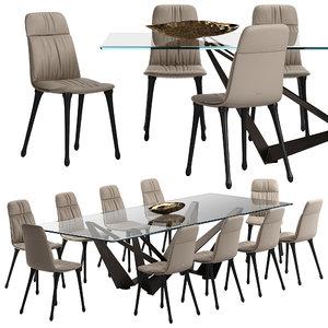 diana chair skorpio table 3D model