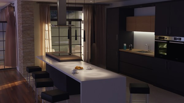 3D realistic modern kitchen